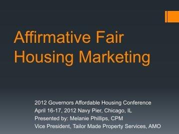 Affirmative Fair Housing Marketing - The Illinois Housing ...