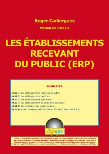 LES ÉTABLISSEMENTS RECEVANT DU PUBLIC (ERP)