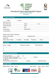English Application Form for Individual - Egyptian Chefs Association