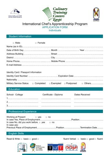 english-application-form-for-individual-egyptian-chefs-ociation Job Application Form English Thai on job vacancy, agreement form, job search, job letter, contact form, job opportunity, job openings, job requirements, employee benefits form, cv form, cover letter form, job resume, job applications online, job payment receipt, job advertisement, job applications you can print,