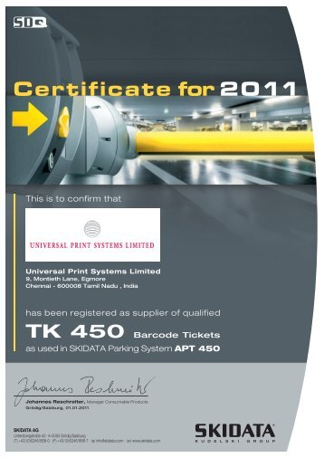 has been registered as supplier of qualified