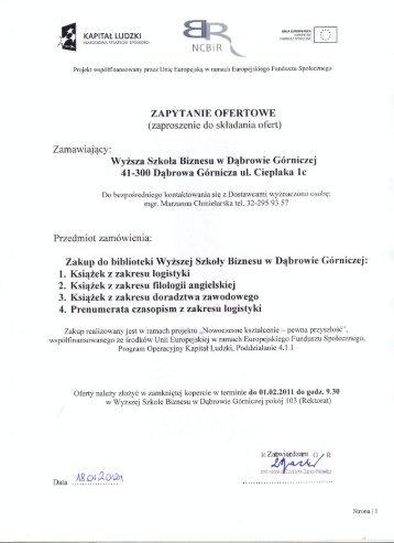 Zapytanie ofertowe - Wyższa Szkoła Biznesu w Dąbrowie Górniczej