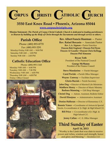 Third Sunday of Easter April 14, 2013