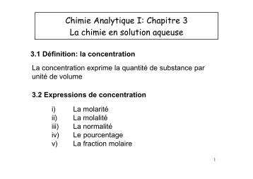 Chimie Analytique I: Chapitre 3 La chimie en solution aqueuse