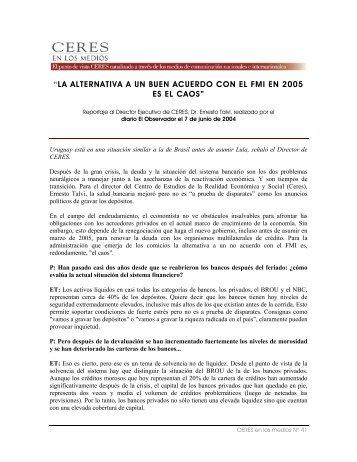 """""""LA ALTERNATIVA A UN BUEN ACUERDO CON EL FMI EN ... - Ceres"""