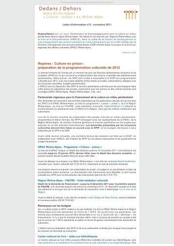 Dedans / Dehors - novembre 2011 - lettre d'information ... - Arald