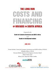 OF HIV/AIDS IN SOUTH AFRICA - Results for Development Institute