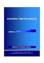 Türkiye Sermaye Piyasası Kurulu Kurumsal Yönetim İlkeleri