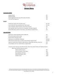R'evolution Dinner Menu - Sonesta