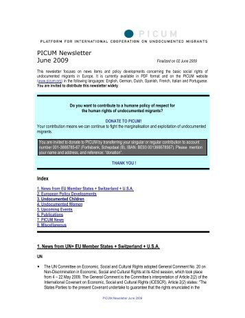 PICUM Newsletter June 2009