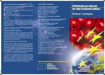 PRODUKCJA ROLNA W UNII EUROPEJSKIEJ ... - Polska w UE