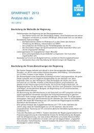 SPARPAKET 2013 Analyse des alv