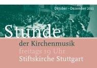 Stunde der Kirchenmusik - Programm Oktober - Dezember 2011