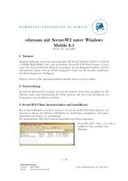 eduroam mit SecureW2 unter Windows Mobile 6.1 - HU Berlin