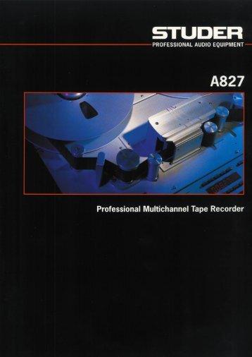 Studer A827 Brochure   PDF - SRTalumni.com