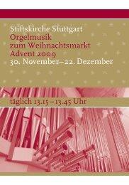 Stiftskirche Stuttgart Orgelmusik zum Weihnachtsmarkt Advent 2009 ...