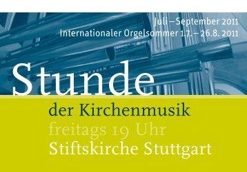 Stunde der Kirchenmusik - Programm Juli - September 2011
