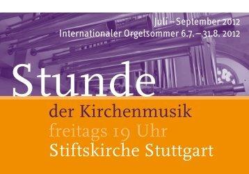 Stunde der Kirchenmusik - Programm Juli - September 2012