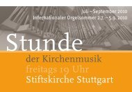 der Kirchenmusik freitags 19 Uhr Stiftskirche Stuttgart