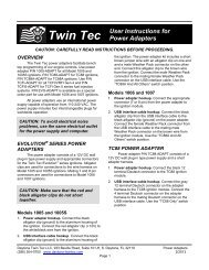 User Instructions For Power Adapters - Daytona Twin Tec