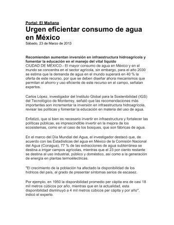 Urgen eficientar consumo de agua en México - Instituto Global para ...