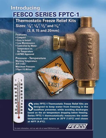 Series FPTC-1 Thermostatic Freeze Relief Kits are designed ... - Febco