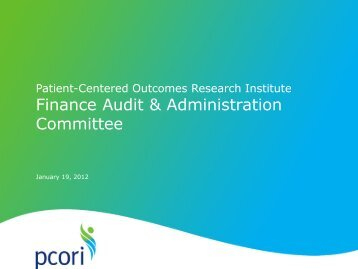 Finance and Administration Committee Report - Patient Centered ...