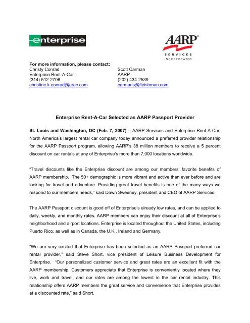 Aarp Car Rentals >> Enterprise Rent A Car Selected As Aarp Passport Provider