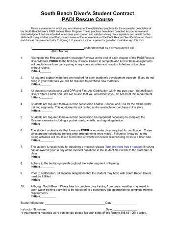 South Beach Diver S Student Contract Padi Rescue Course