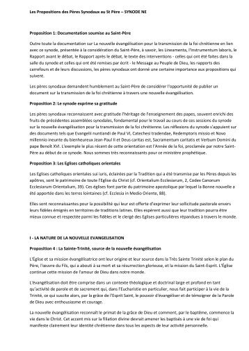 Les Propositions des Pères Synodaux au St Père - Diocèse d'Avignon