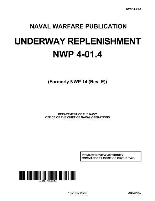 UNDERWAY REPLENISHMENT NWP 4-01 4 - Historic Naval Ships