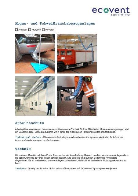 Abgas- und Schweißrauchabsauganlagen Arbeitsschutz Technik