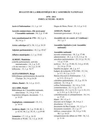 Index auteurs-sujets - Bibliothèque - Assemblée nationale du Québec