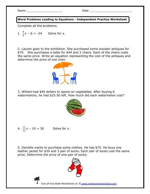 Word Problems Leading to Equations Independent Practice ...