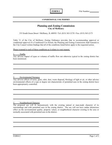 Class III Conditional Use Application - IC Form 7009 - the City of ...