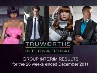 GROUP INTERIM RESULTS for the 26 weeks ended ... - Truworths