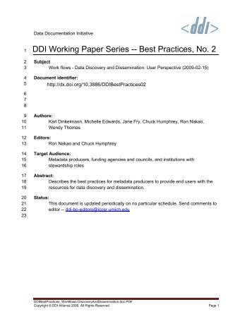 DDI Best Practice: Work flows - Data Discovery and Dissemination ...