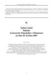 Statutem UP - Univerzita Palackého v Olomouci