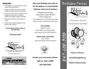 Birthday Parties - Bartlett Park District