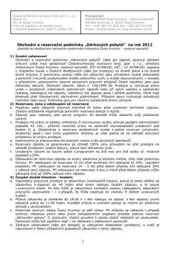 """1 Obchodní a rezervační podmínky """"Dárkových ... - Český Krumlov"""