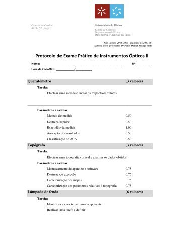 Protocolo de Exame Prático de Instrumentos Ópticos II