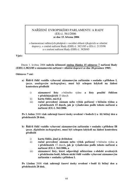 NAŘÍZENÍ EVROPSKÉHO PARLAMENTU A RADY (ES) č. 561/2006