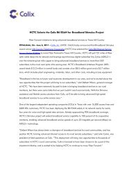 HCTC Selects the Calix B6 ESAN for Broadband Stimulus Project