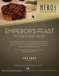 EMPEROR'S FEAST - Caesars Windsor