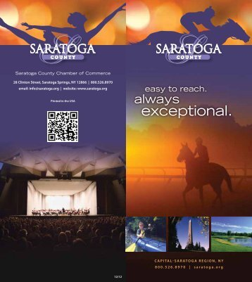 Travel Guide - Saratoga County Chamber of Commerce