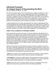 Informed Consent: An Integral Aspect of - Healing Touch Program
