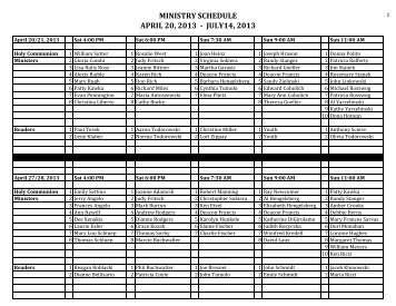 MINISTRY SCHEDULE APRIL 20, 2013 - JULY14, 2013