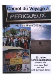 Carnet du Voyage à Périgueux 2003 - Arndt-Gymnasium Dahlem