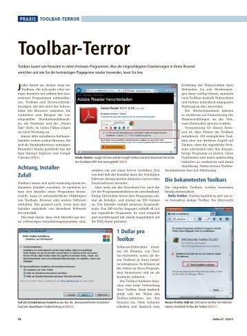 Toolbar-Terror als PDF - Online PC Zeitung