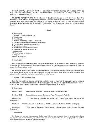 NORMA OFICIAL MEXICANA. NOM 014-SSA1-1993 ...
